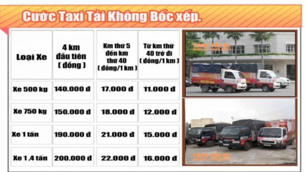 Bảng giá taxi tải Xá Lợi không bốc xếp