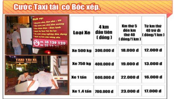 Bảng giá taxi tải Xá Lợi có bốc xếp