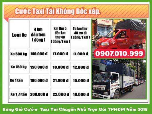 giá cước taxi tải chuyển nhà xá lợi không bốc xếp