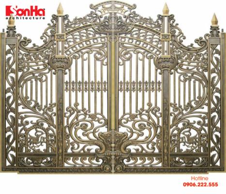 Mẫu cổng được làm từ vật liệu nhôm đúc với thiết kế giản dị