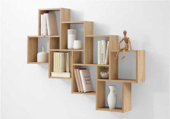 Trang trí ô vuông trên tường thường áp dụng để làm kệ sách và một số vật decor