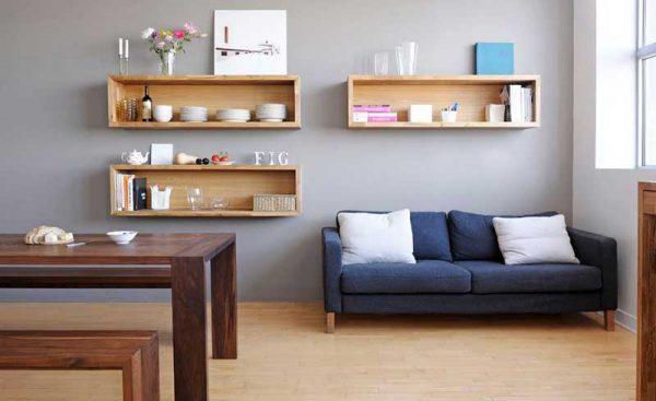 Có nhiều vị trí để đặt các ô hoặc kệ trang trí trong phòng khách