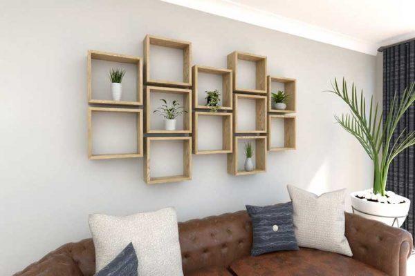 Ô vuông trang trí phòng khách giúp cân bằng bố cục