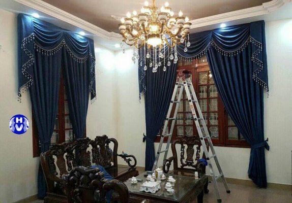 Bộ rèm cửa phòng khách hiện đại kết hợp không gian việt tạo nét hài hòa