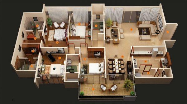 Thiết kế căn hộ 4 phòng ngủ sang trọng hợp lý cho gia đình 3 thế hệ